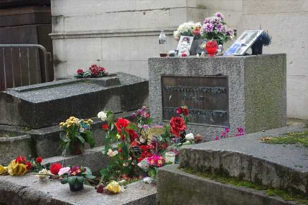 Jim Morrison's grave, behind the barriers..