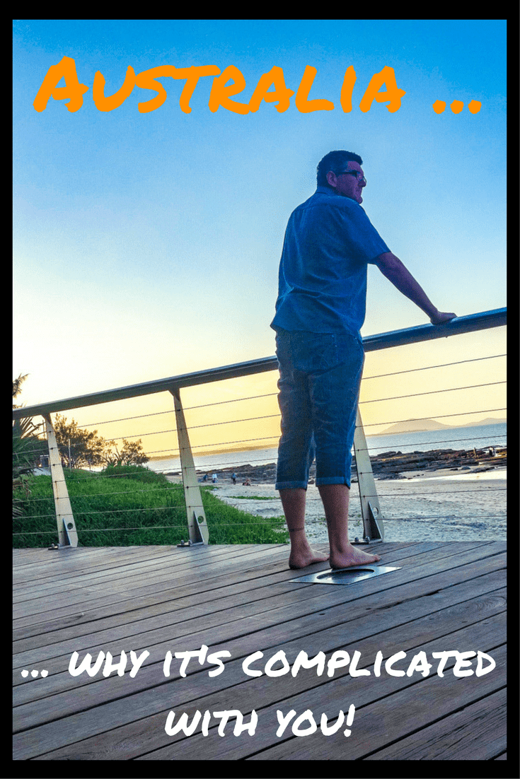 Oh, Australia, it's complicated with you! Me looking out to sea on the Sunshine Coast at dusk.