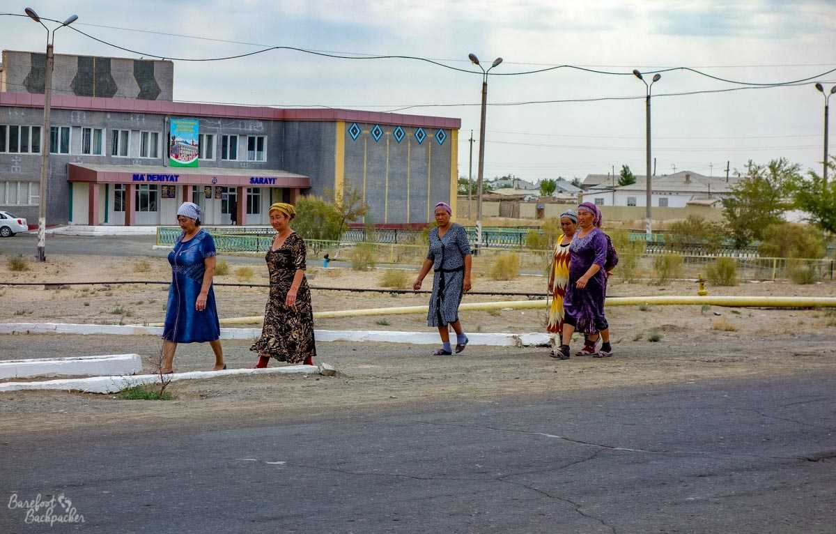 Women walking in Moynaq.