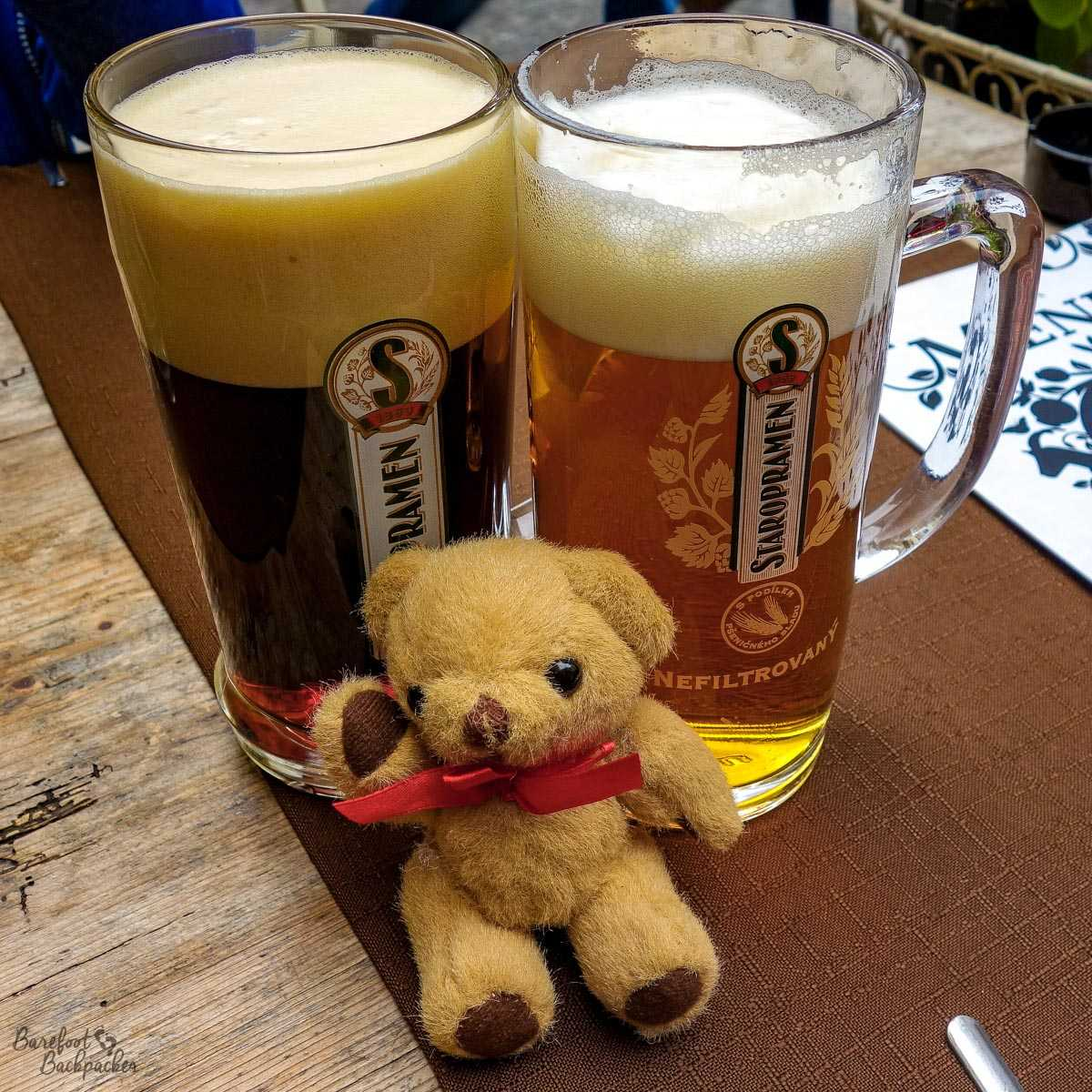 Still life with beer and 'baby Ian' - Prague, October 2014.