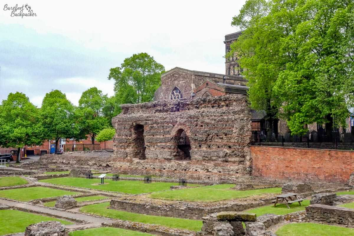 The Jewry Wall, Leicester; 9th Century Church of St Nicholas behind it.