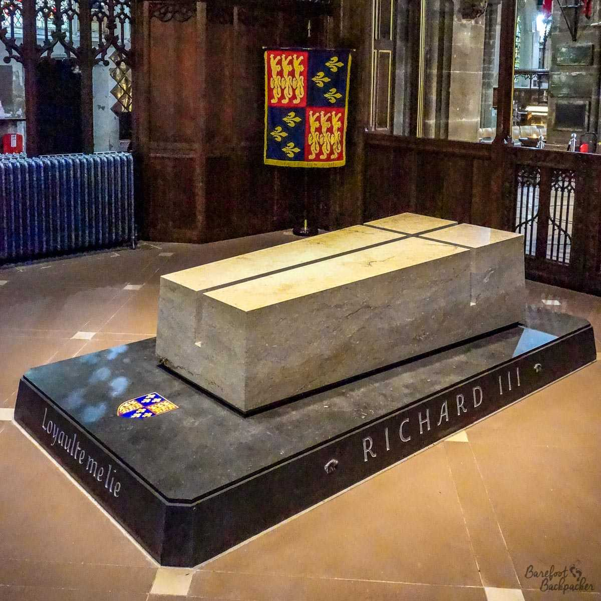 New grave of King Richard III inside Leicester Cathedral.