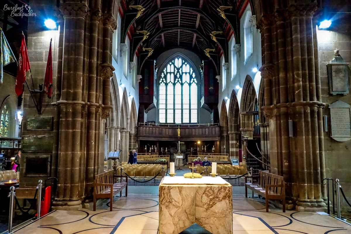 Inside Leicester Cathedral.