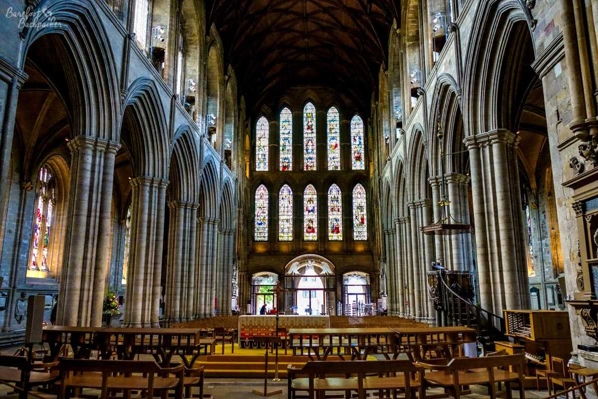 Inside Ripon Cathedral.