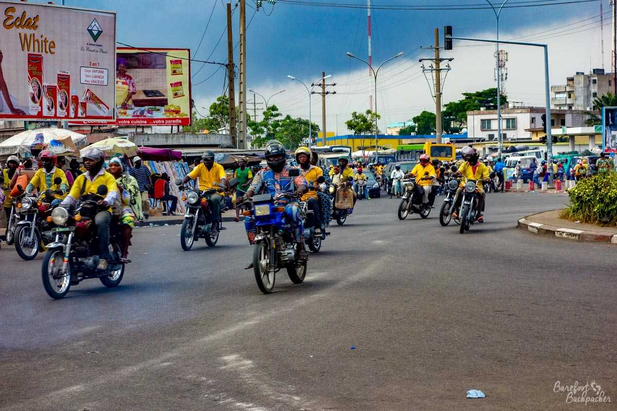 Moto-taxis in Cotonou, Benin.
