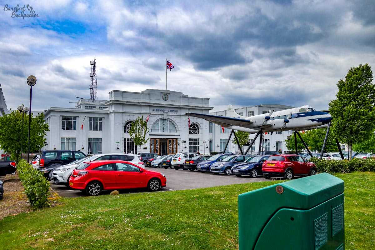 The terminal building and associated aeroplane at Croydon Airport