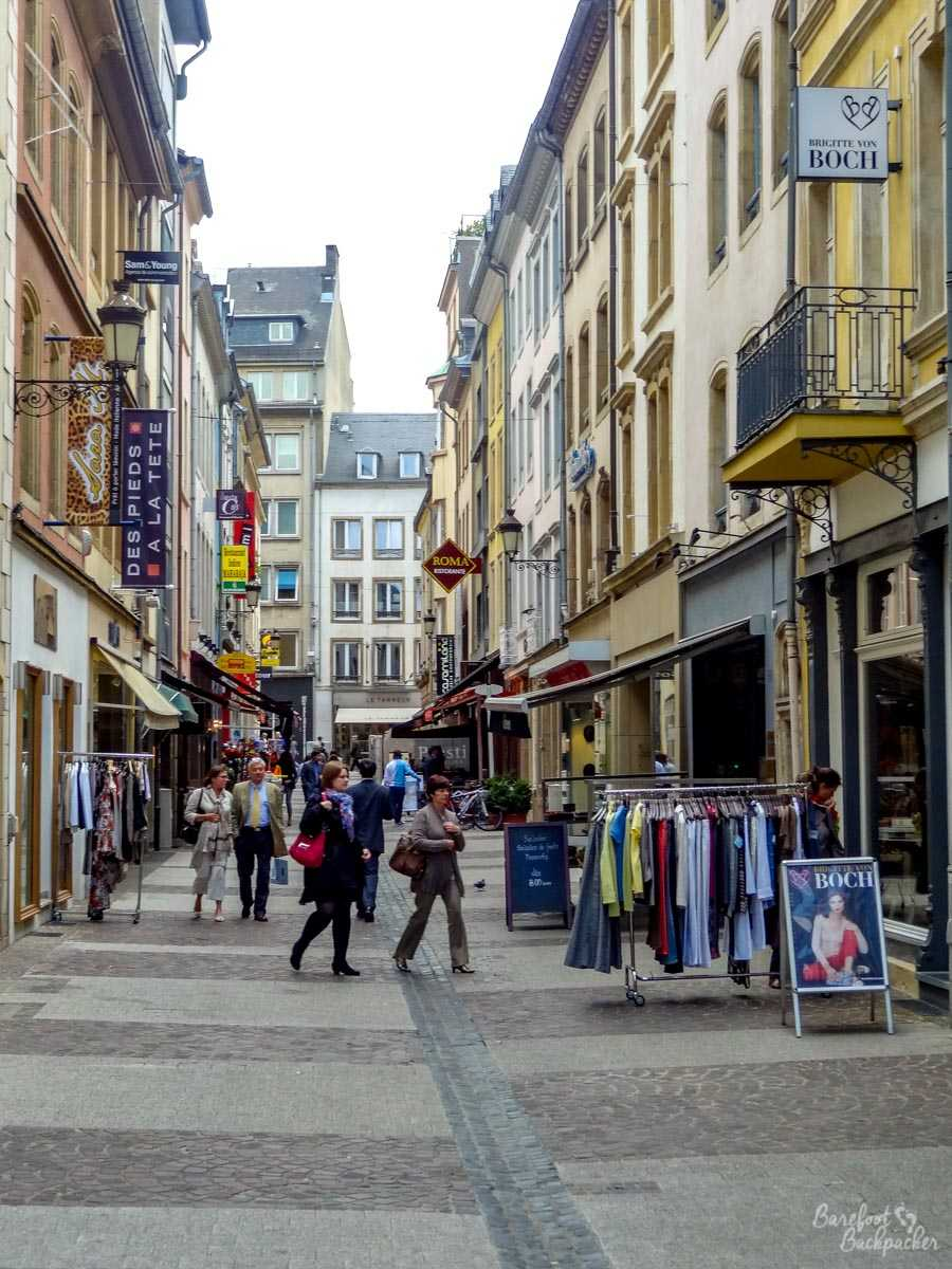 Shopping street in Luxembourg
