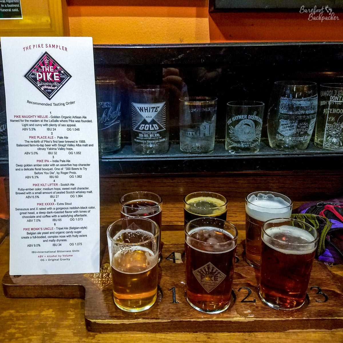 Flight of beers at Pike Place Brewery, Seattle WA