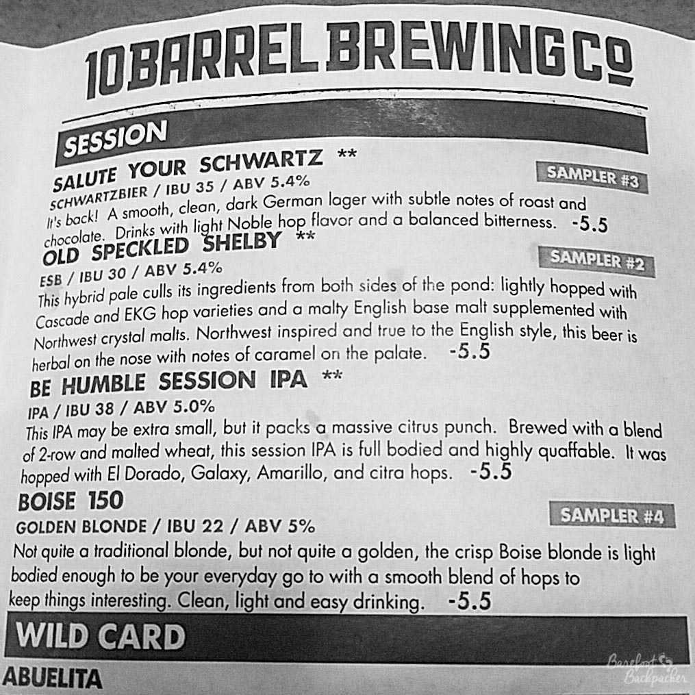 Beer list at 10 Barrel Brewing, Portland OR