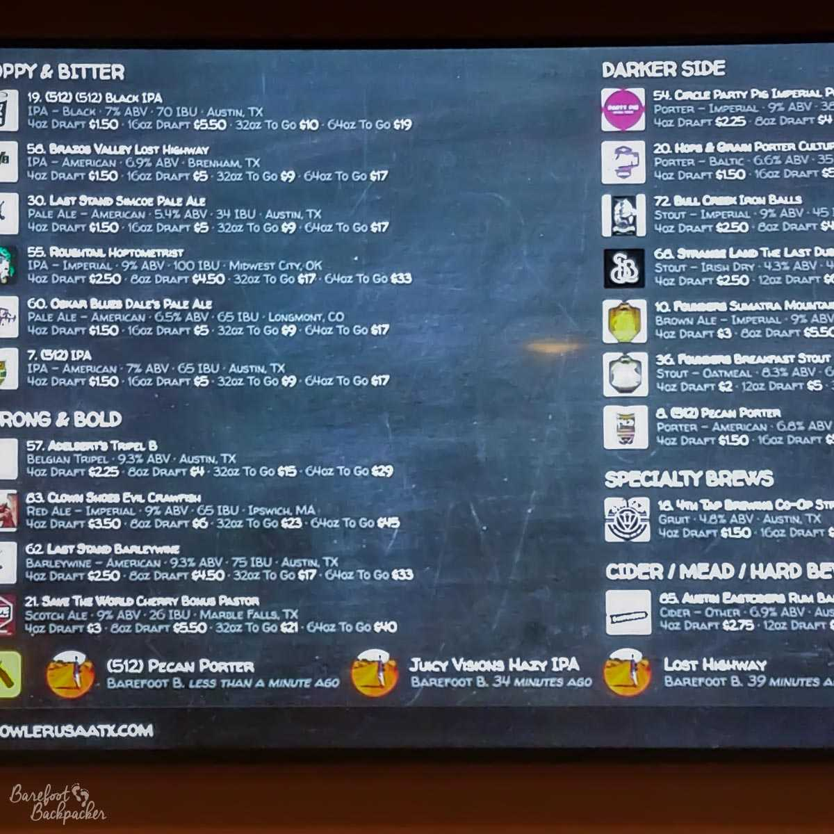 List of beers at Growler USA, Austin TX