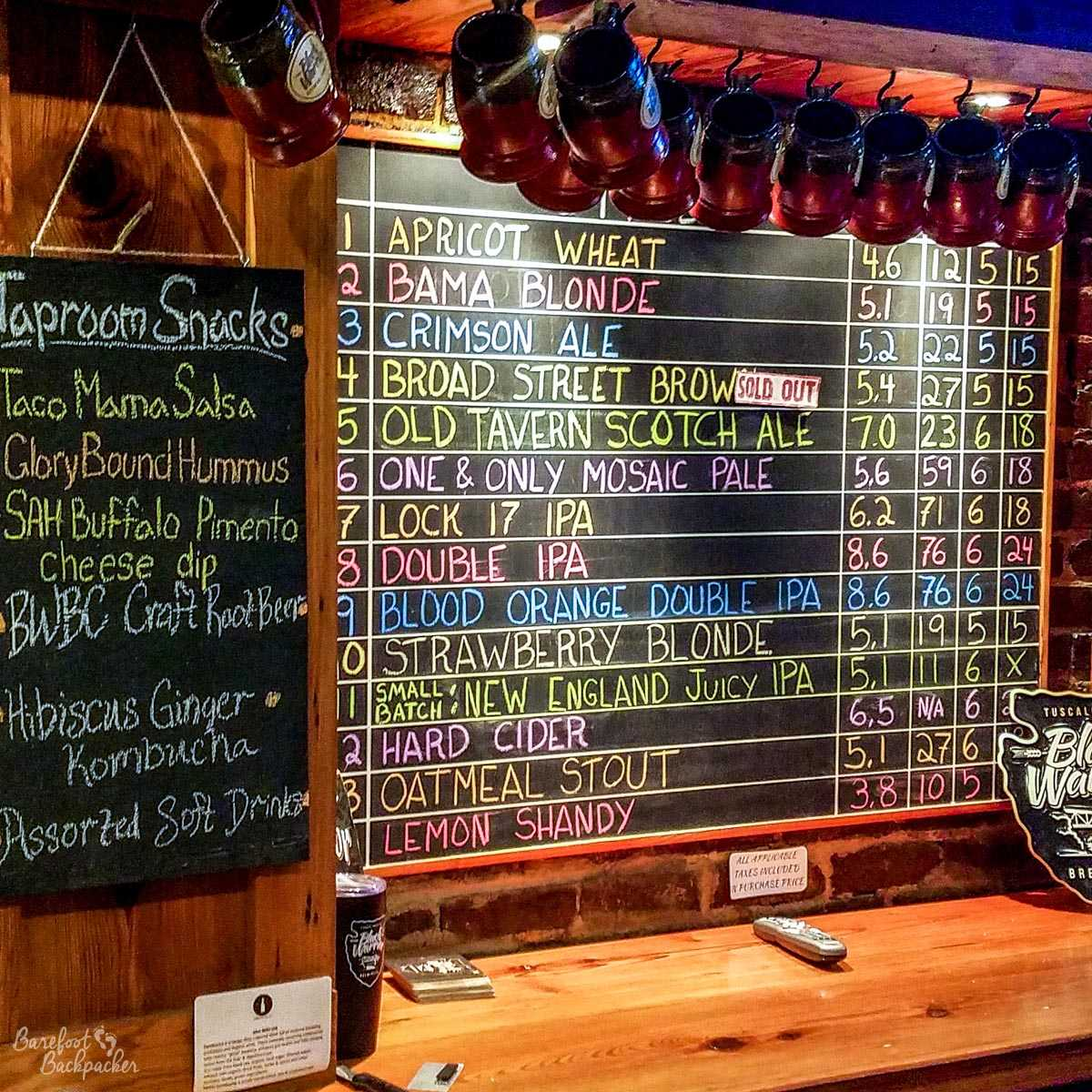 List of beers at Black Warrior Brewery, Tuscaloosa AL