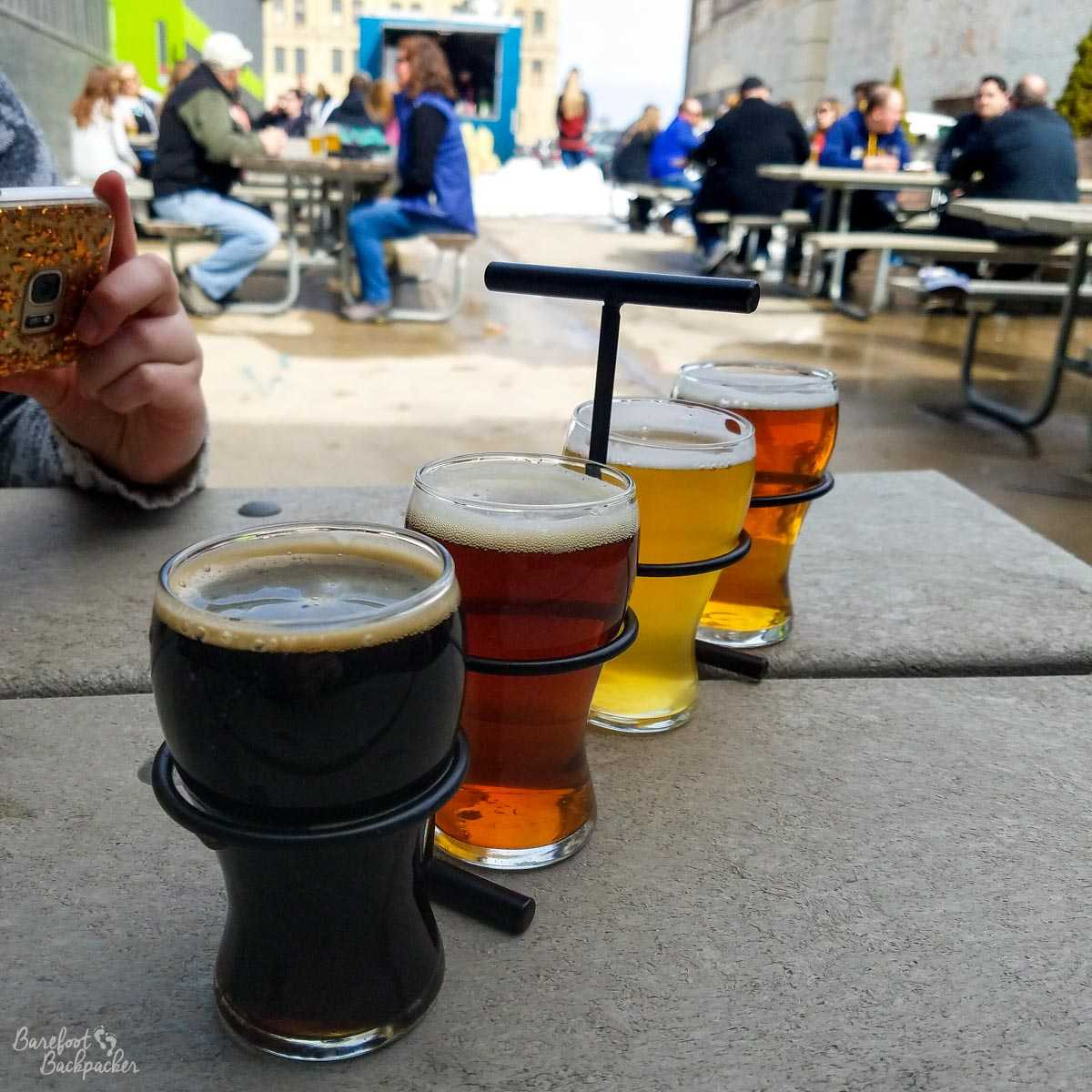 Flight of beers at Third Space Brewing, Milwaukee WI