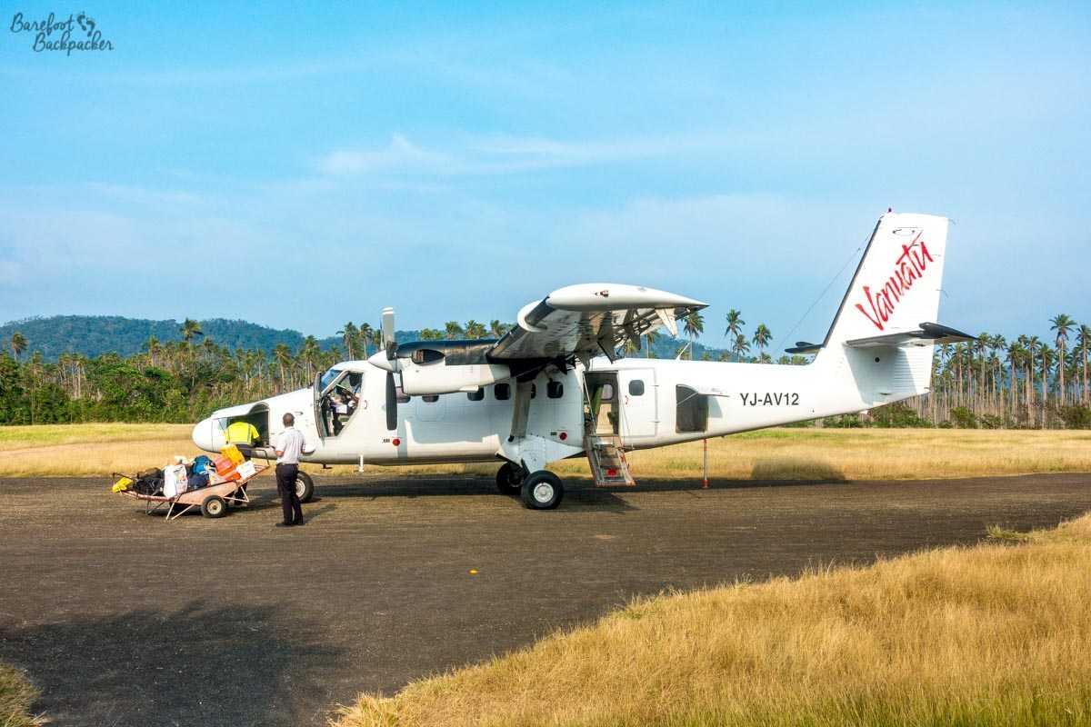 An aeroplane at Norsup Airport, Malekula.