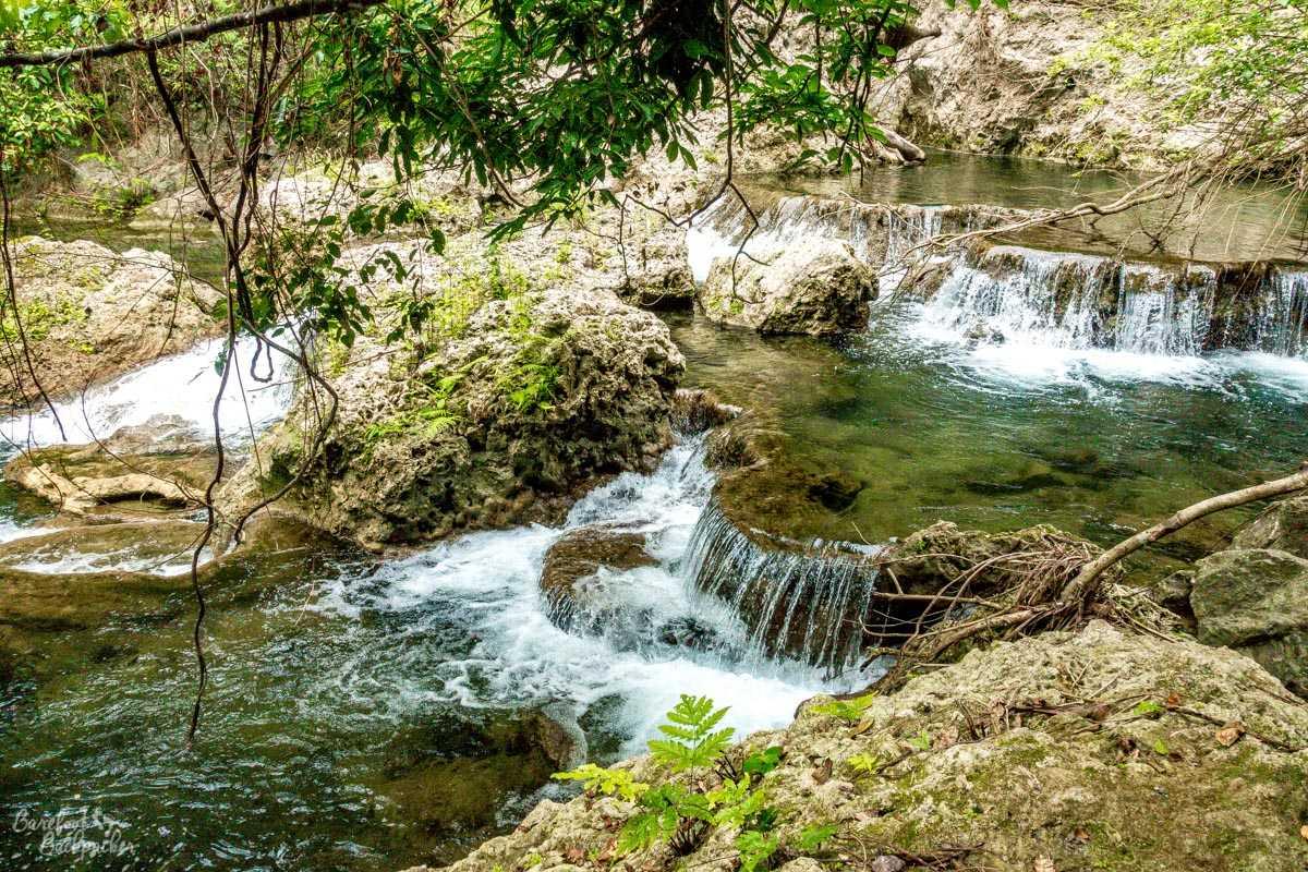 Water cascades near Losinwei waterfall, Malekula.
