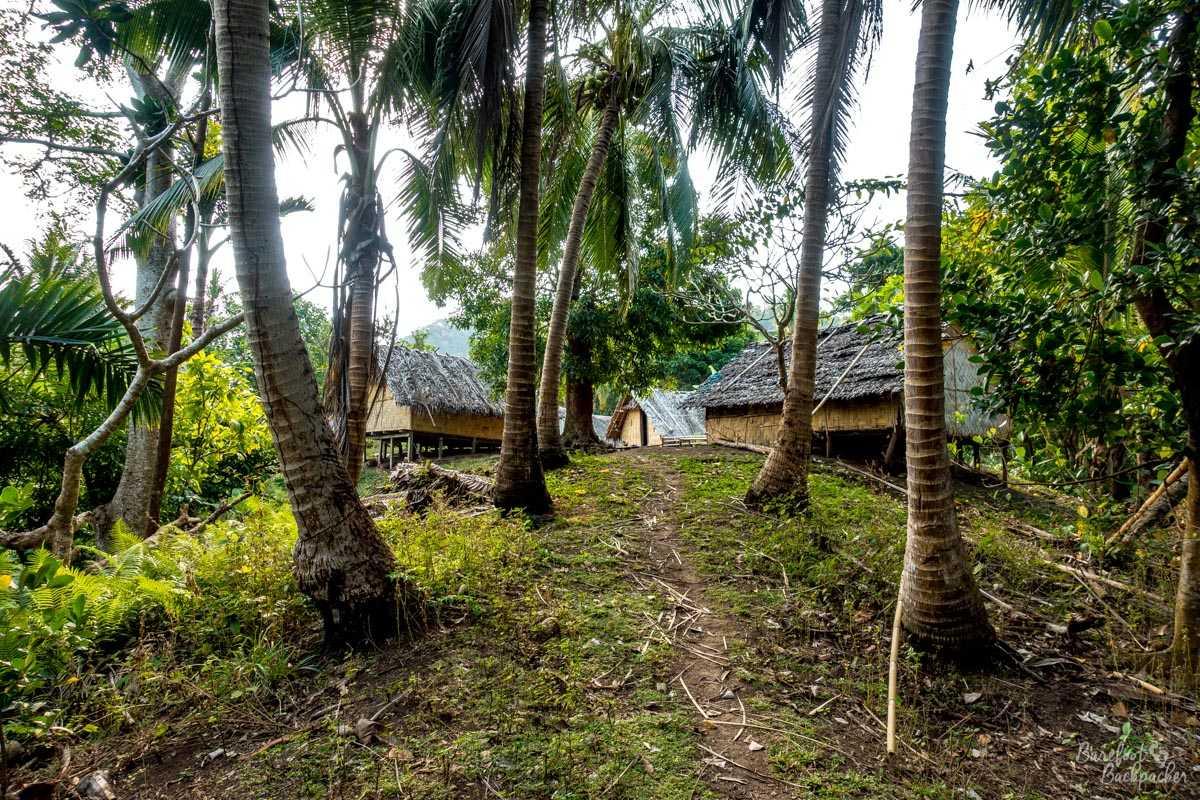 Arriving in Kalele village on the Dog's Head Trail in Malekula.