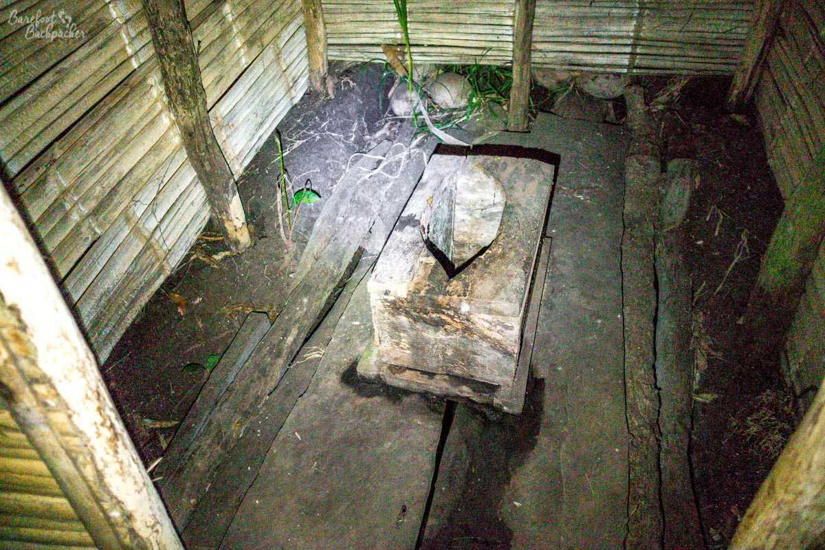 Basic toilet facilities in a Malekula village.