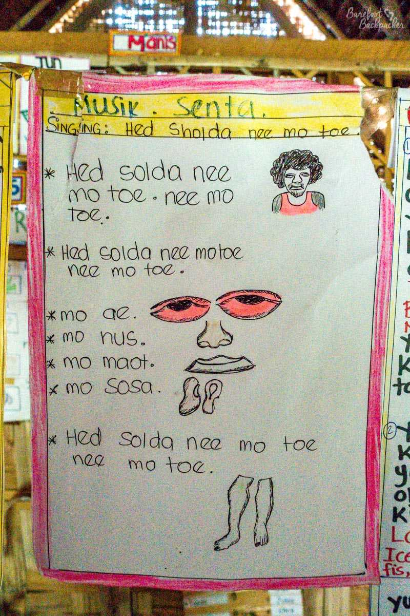 Children's song written in Bislama, as seen in a school on Malekula.