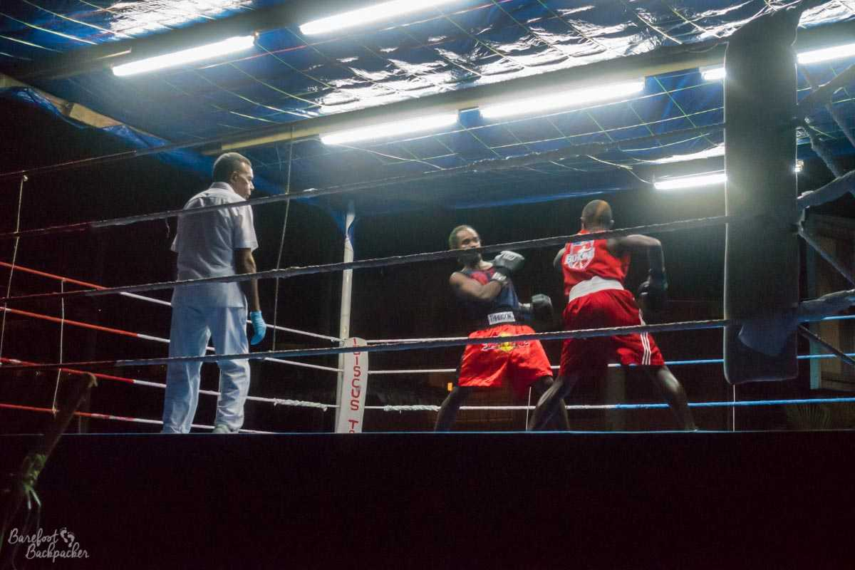 Boxing at night during Vanuatu's Independence Day celebrations.