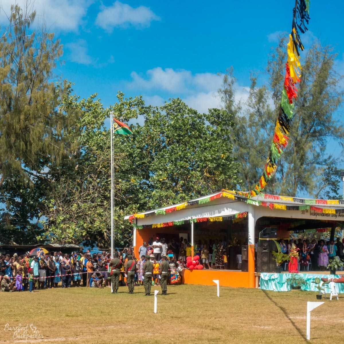 Flag-raising ceremony, Independence Day parade, Unity Park, Luganville, Vanuatu.