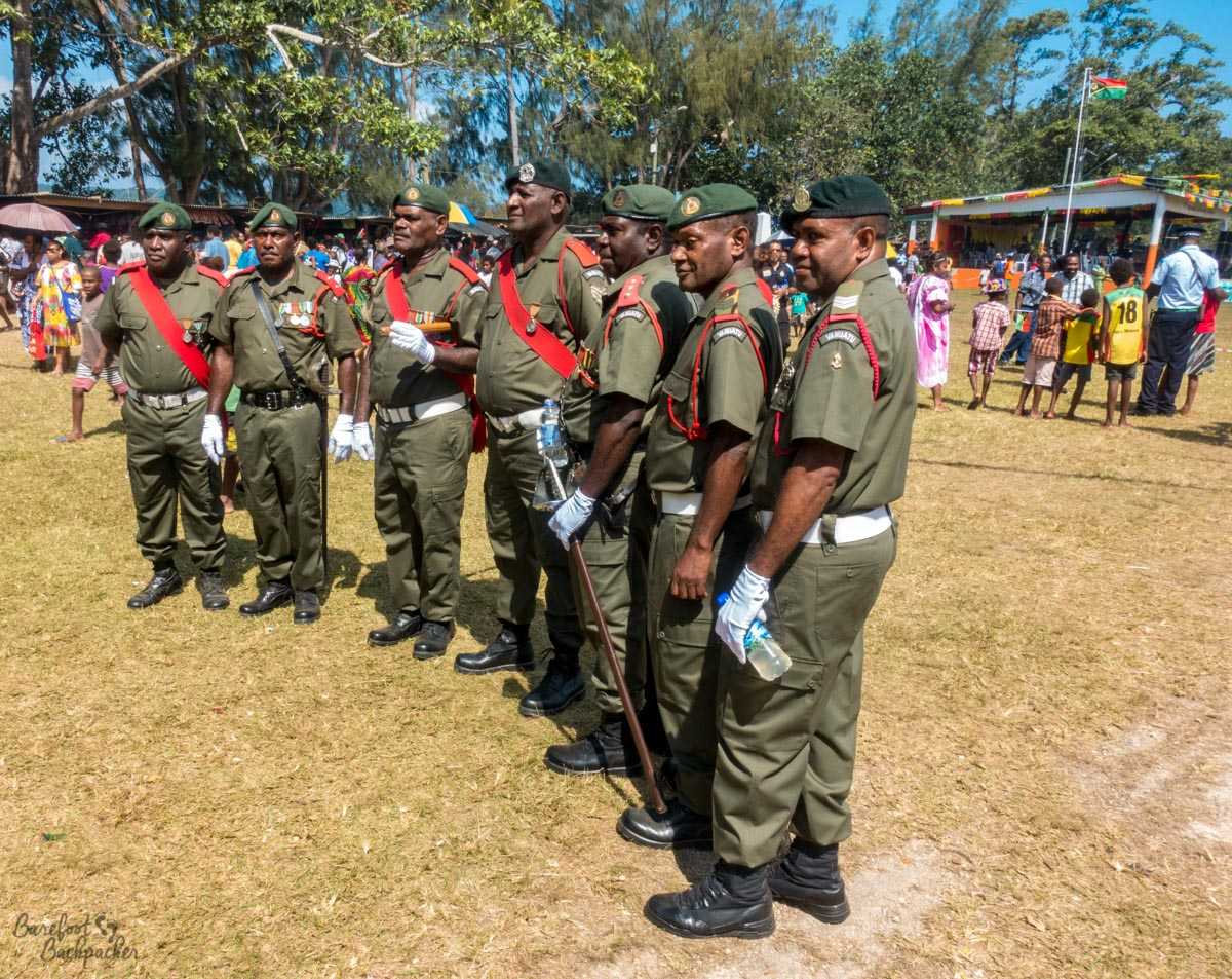 Soldiers posing for pics, Independence Day parade, Unity Park, Luganville, Vanuatu.