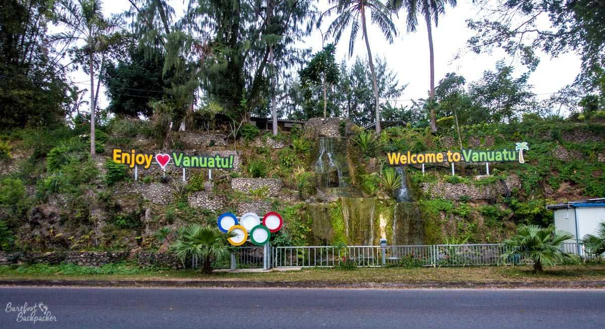 Welcome to Vanuatu sign, Port-Vila.