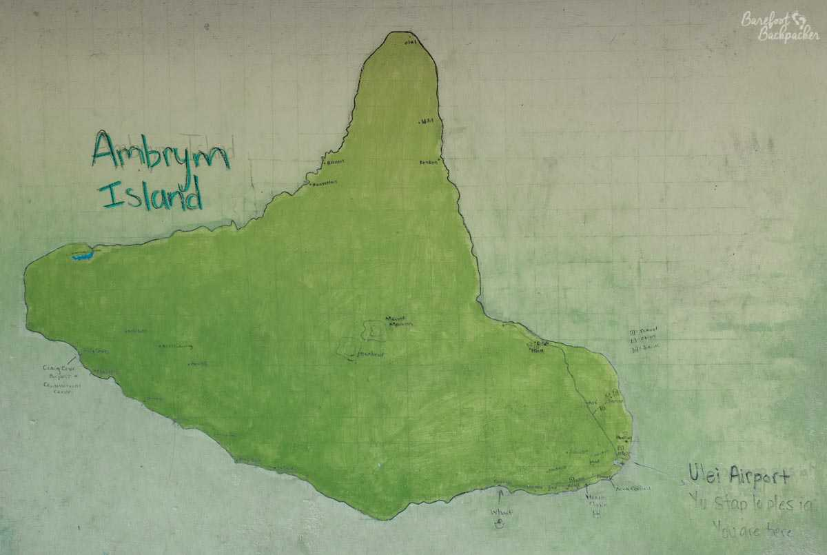 Map of Ambrym, at Ulei Airport