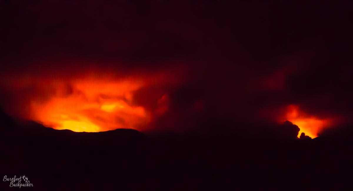 Ambrym's volcanoes at night