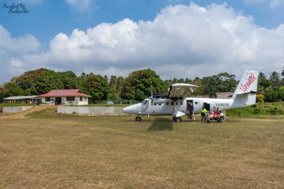 Air Vanuatu plane, Gaua Airport.