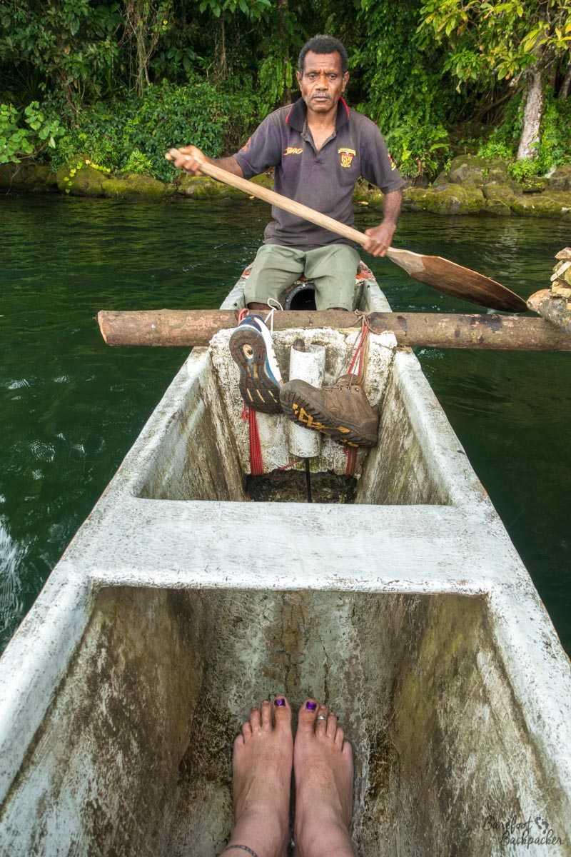 Inside the leaky canoe on Lake Letas, Gaua.