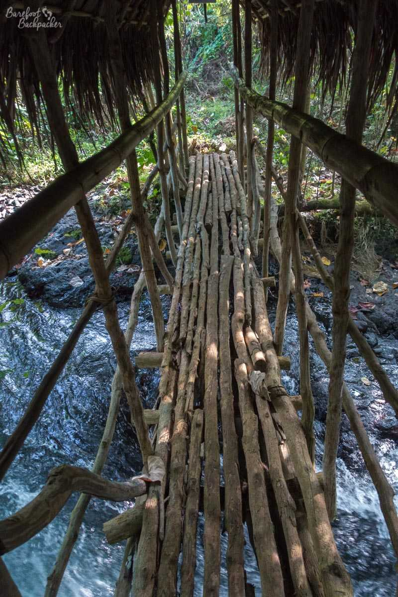 Rickety bridge in Gaua.