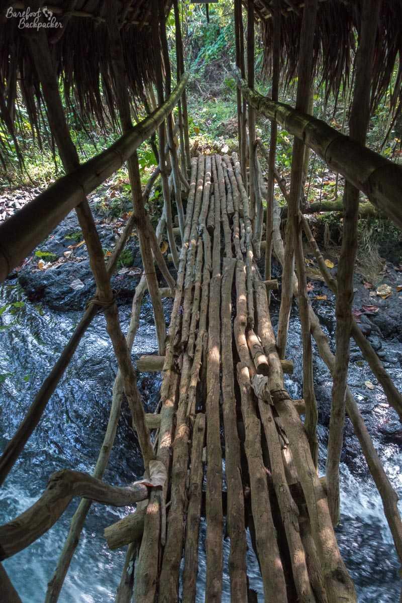 Rickety bridge in Gaua.