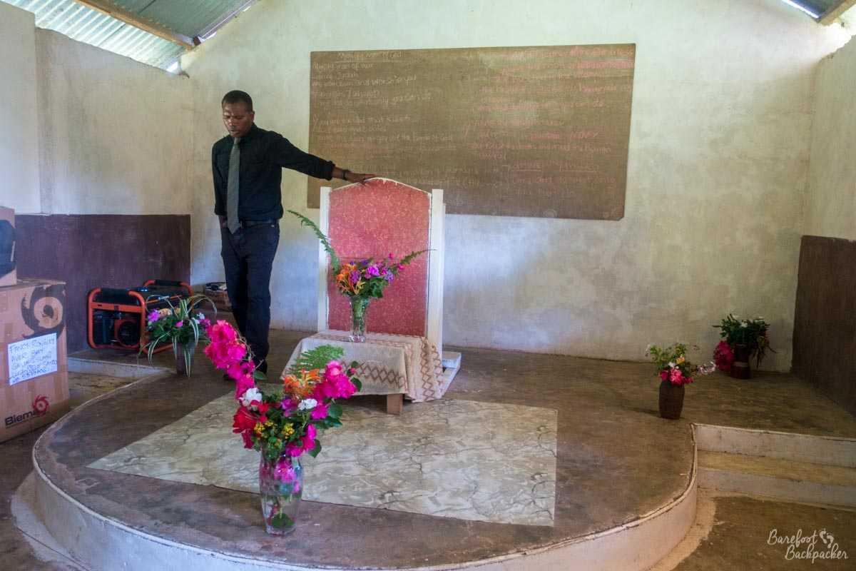 Preacher at a church on Gaua.