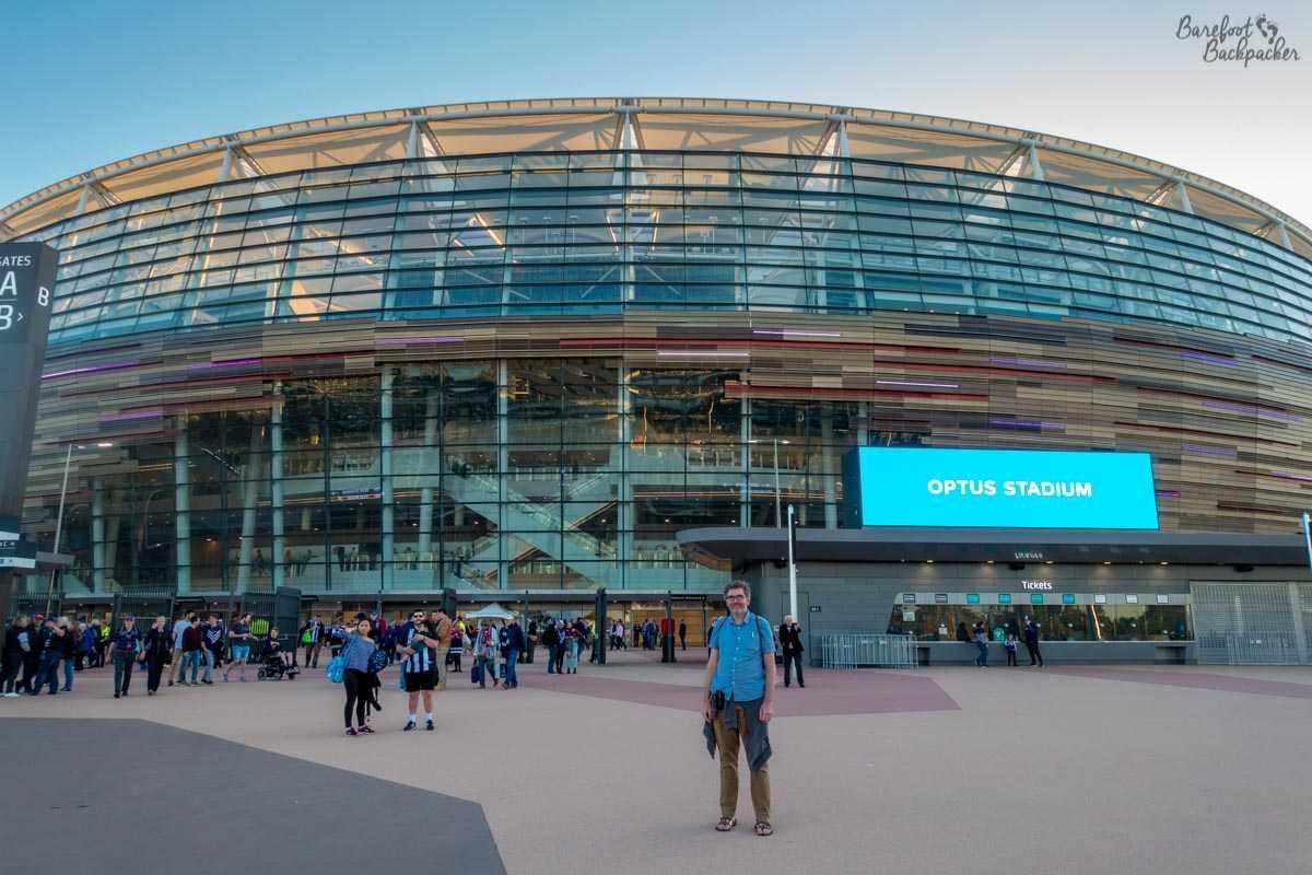 Outside Optus Stadium, Perth, Western Australia.