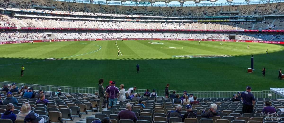 Inside Optus Stadium, Perth, Western Australia.