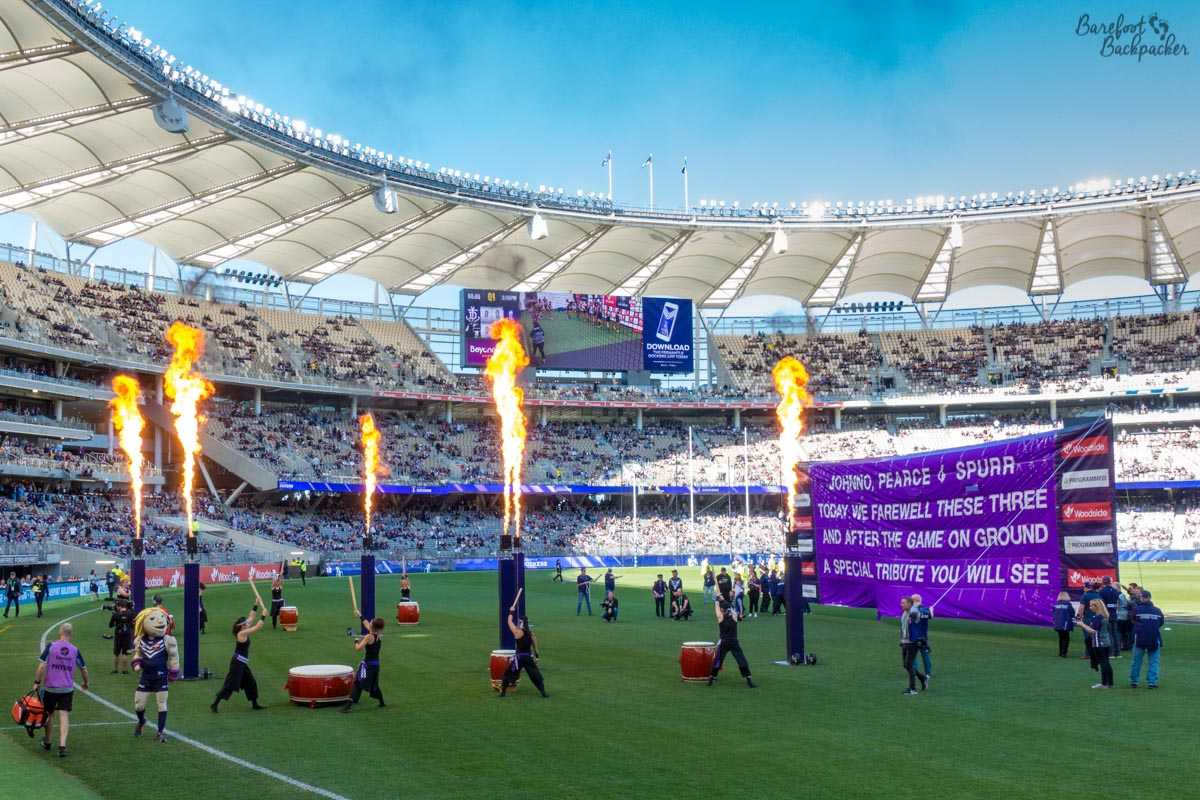Fire and celebration in Optus Stadium, Perth.