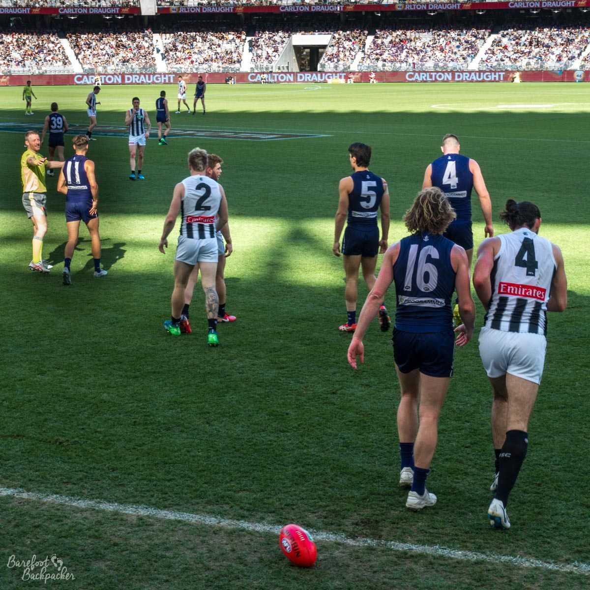 Play during an AFL game at Optus Stadium, Perth