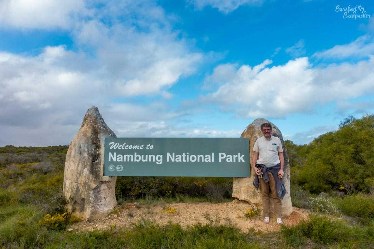 Welcoming sign at Nambung National Park, Western Australia