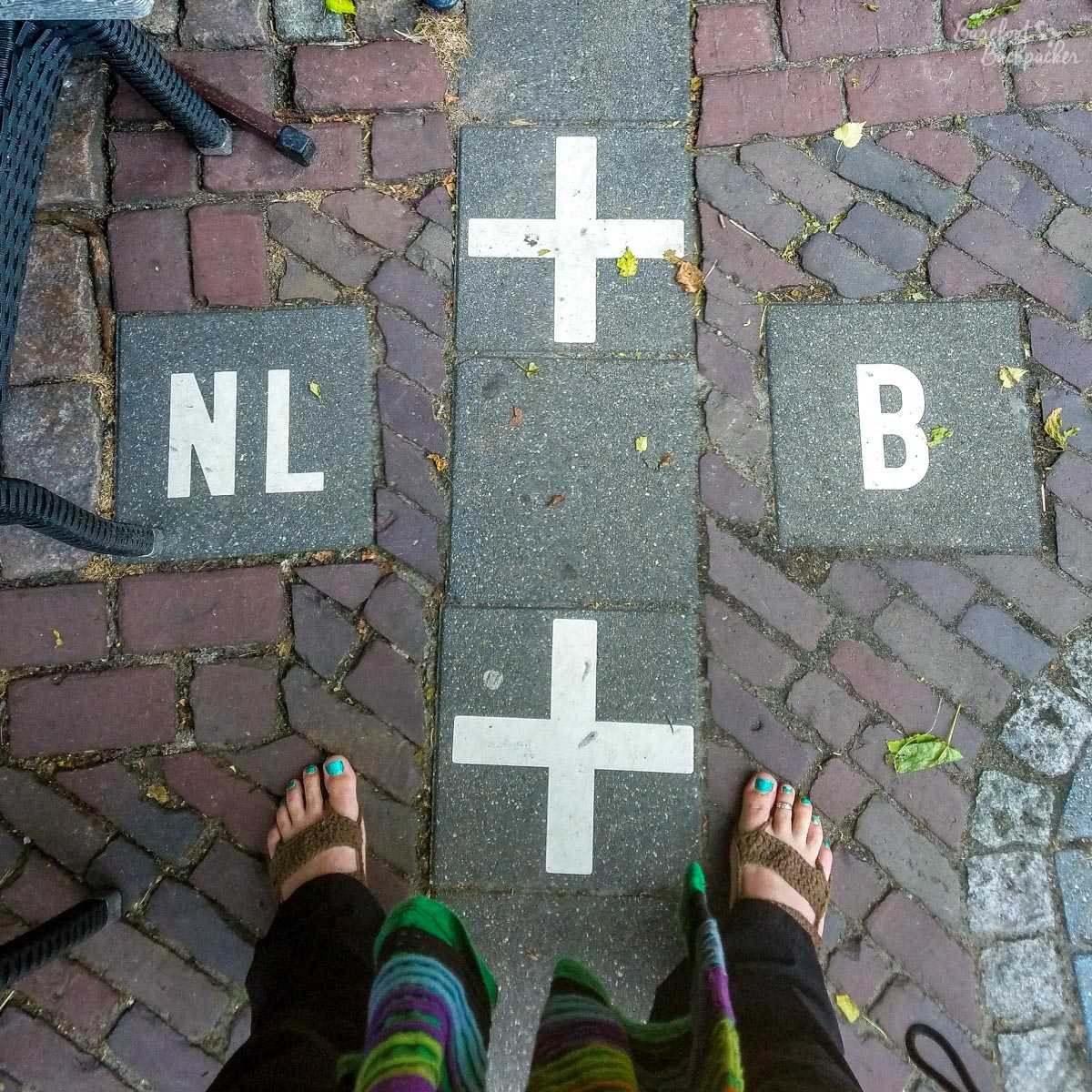 Stood astride the Dutch/Belgian border in Baarle-Hertog/Baarle-Nassau, one (bare) foot in each country. The quirky borders here were why it was on my Bucket List.
