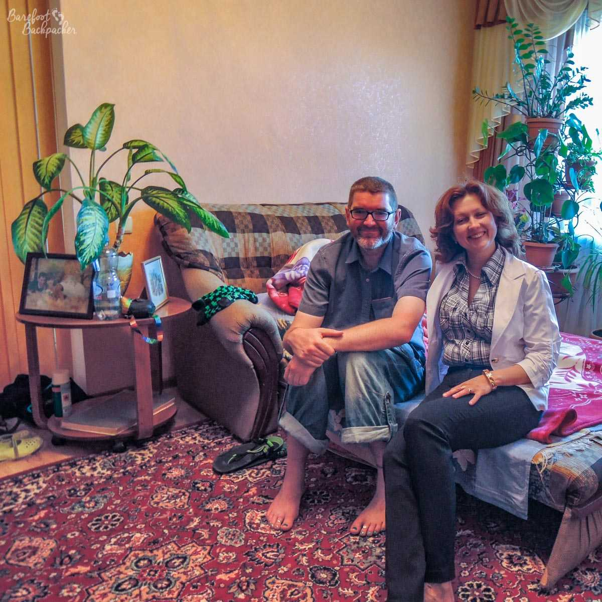 The Barefoot Backpacker and his couchsurfing host (Olga) in her flat in Tiraspol.