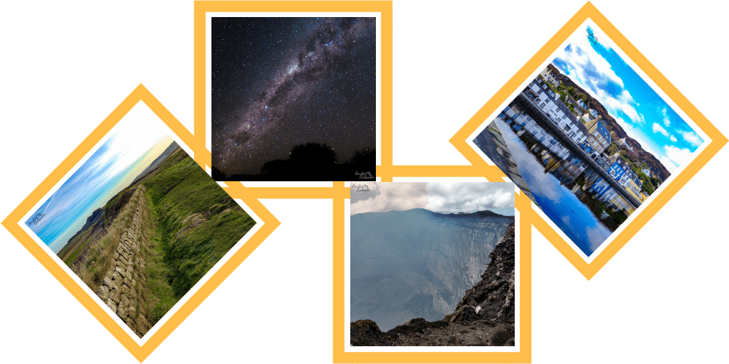 Sample pics I've taken: Hadrian's Wall; the night sky over Western Australia; Mount Benbow, Vanuatu; Tarbert, Scotland.