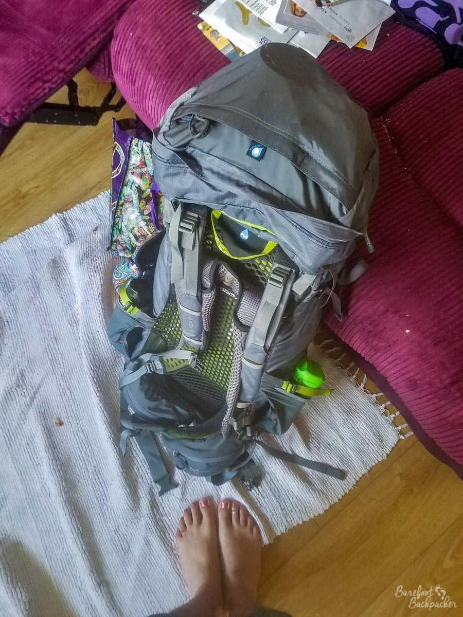 Backpack and Bare Feet, at the start of the adventure in my friend's house in Sheffield