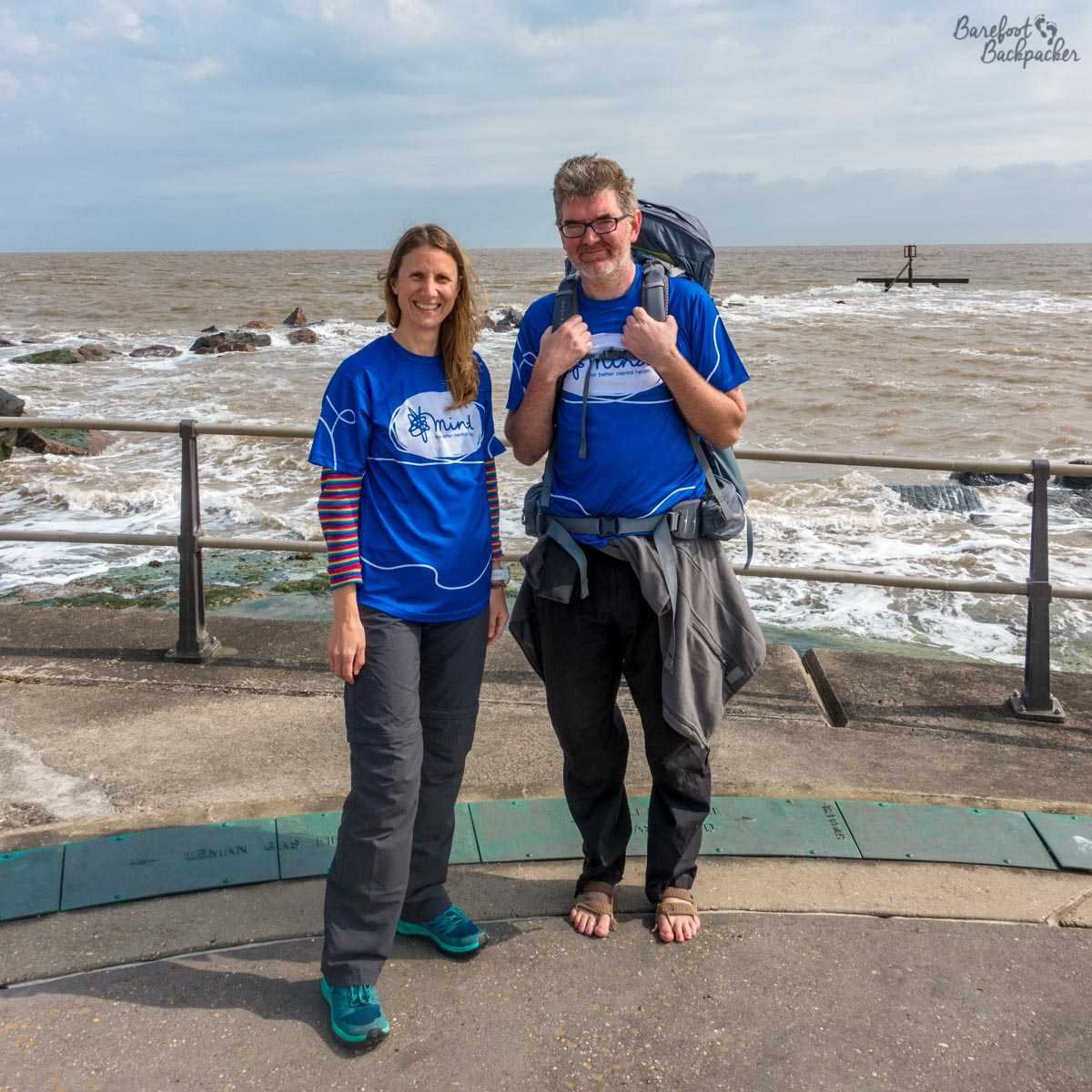The Barefoot Backpacker not travelling solo for twice. Rather he is with Becky (from Becky the Traveller), standing on the promenade at Ness Point, the furthest easterly point in the UK