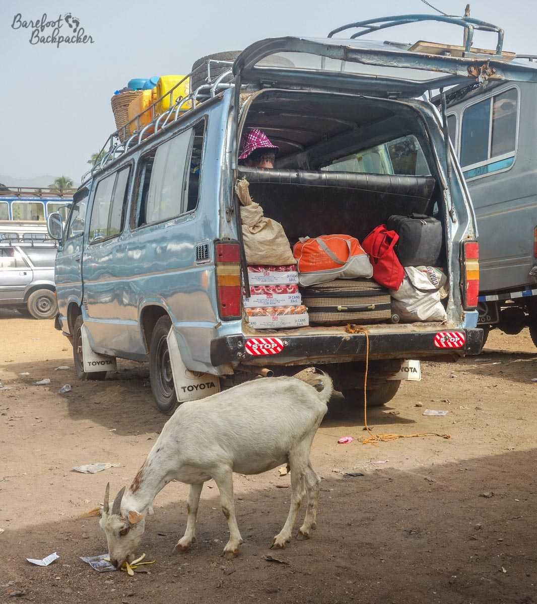 The minibus that took me from Kpalimé in Togo, to Ho in Ghana. The goat did not come with us.
