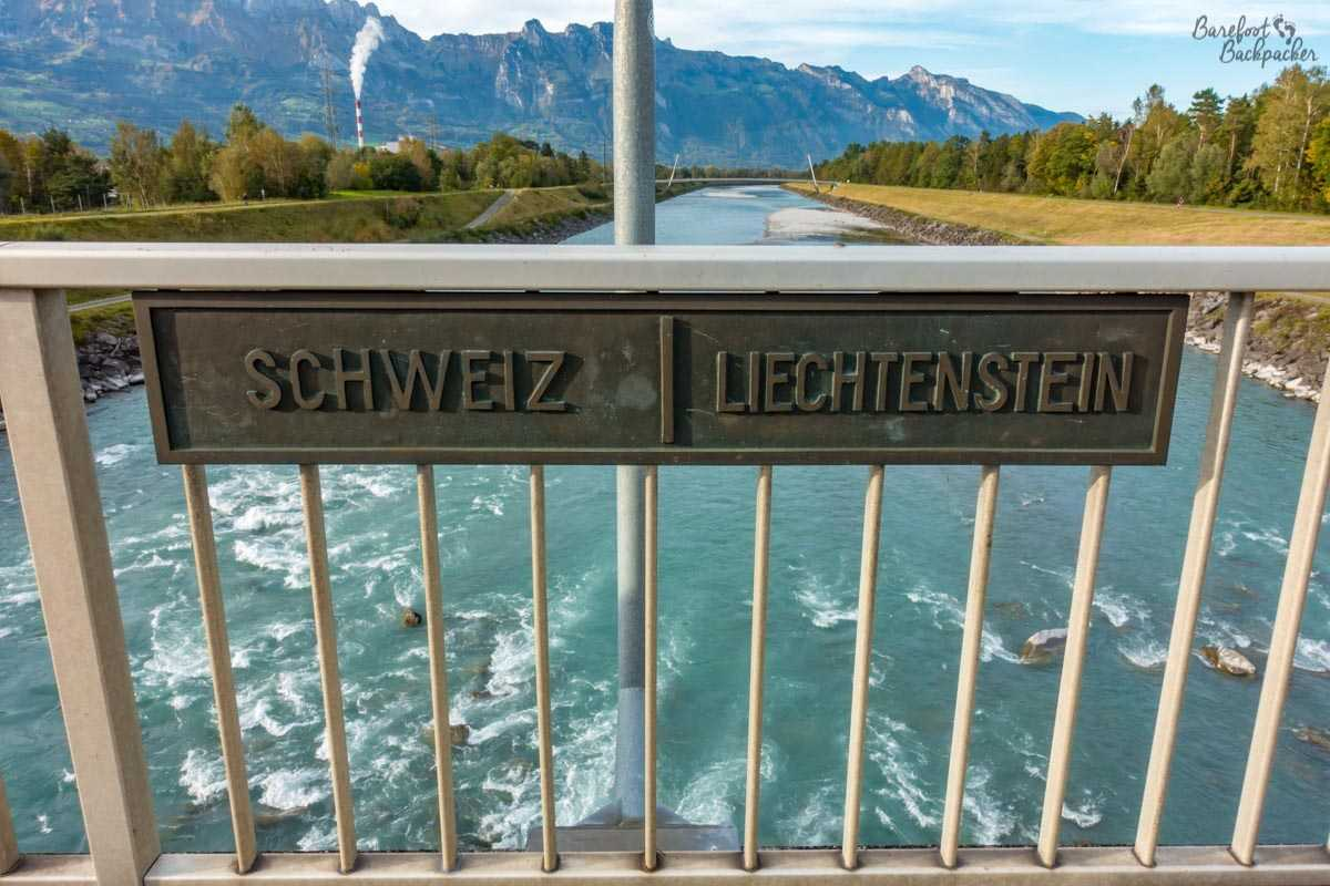 A bridge over the River Rhine, marking the border between Switzerland and Liechtenstein. Mountains in the background. Quite pretty.
