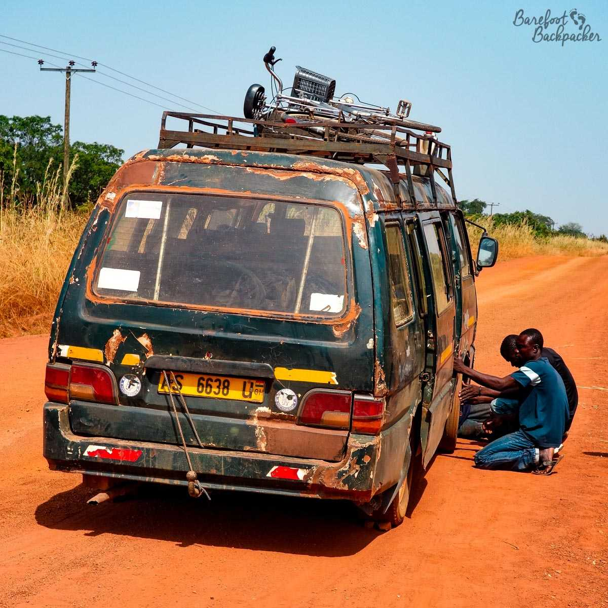 The minibus (tro-tro) that broke down between Wo and Hamile, in NW Ghana.