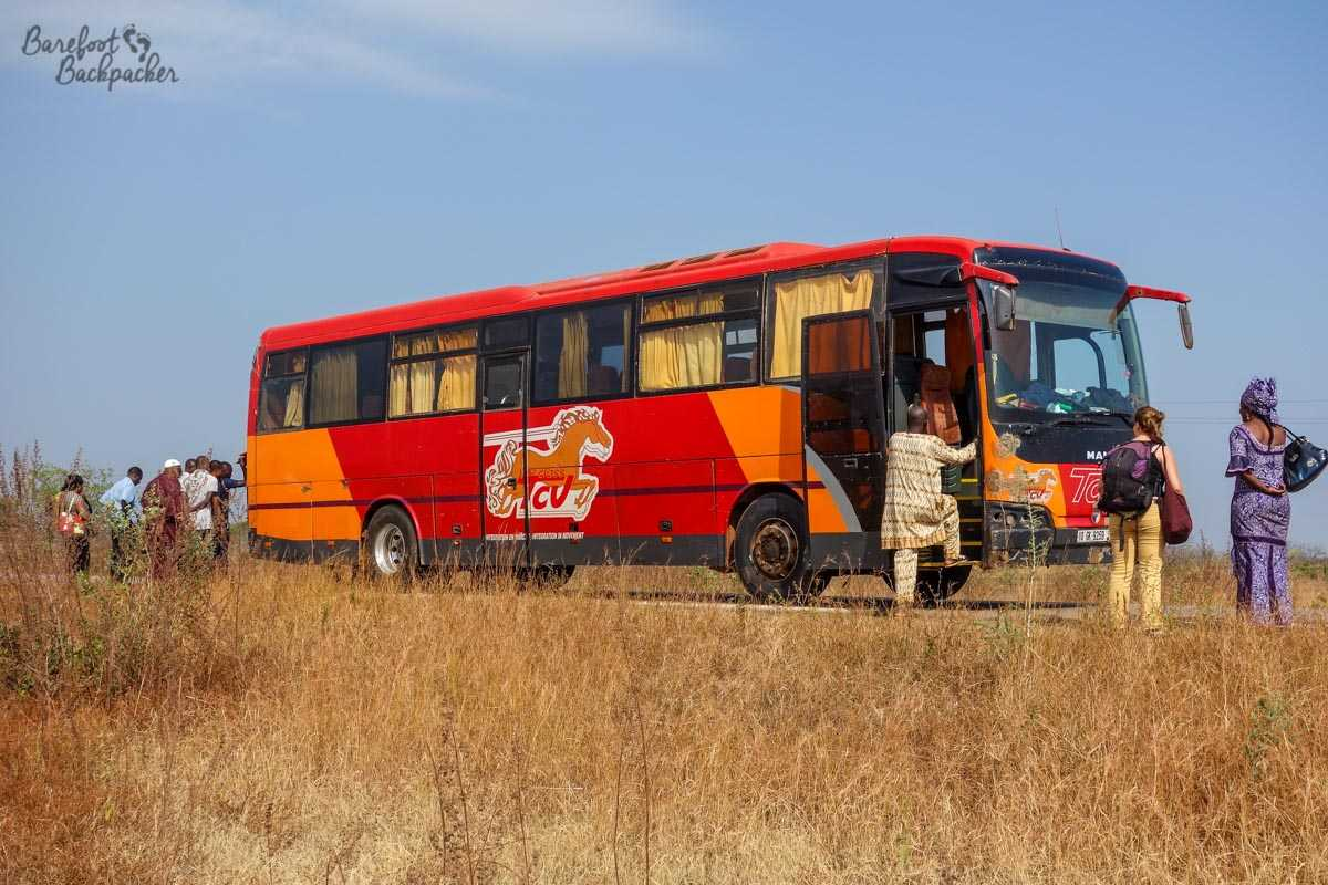 A bus in Burkina Faso, plying the Bobo-Ouagadougou route. It had, er, broken down at the time of my taking this pic ...