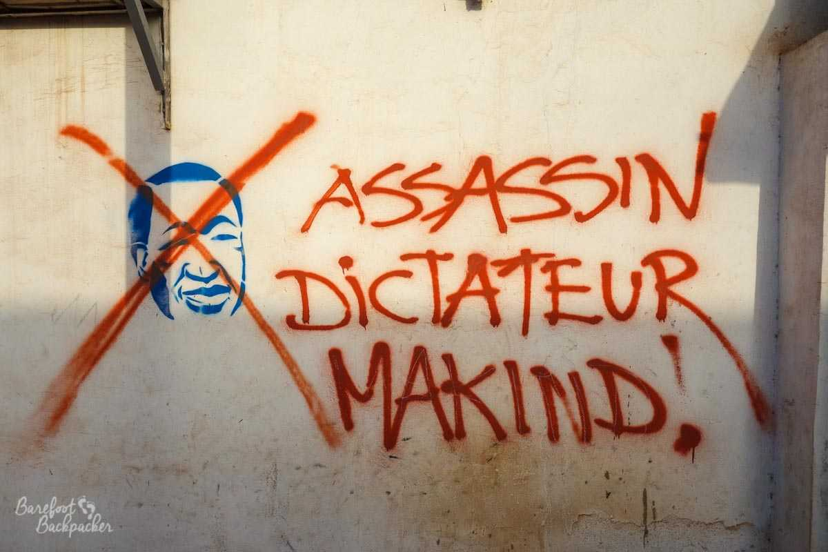 An example of anti-Compaoré grafitti in Ouagadougou – 'Assassin, Dictateur, Makind' it says,
