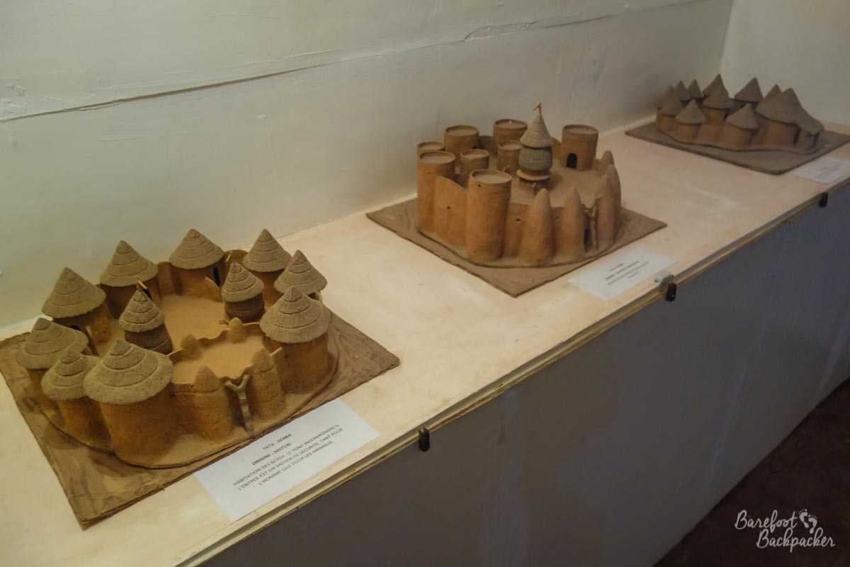 Models of Tata Somba Houses on display at the Museum in Natitingou, Benin