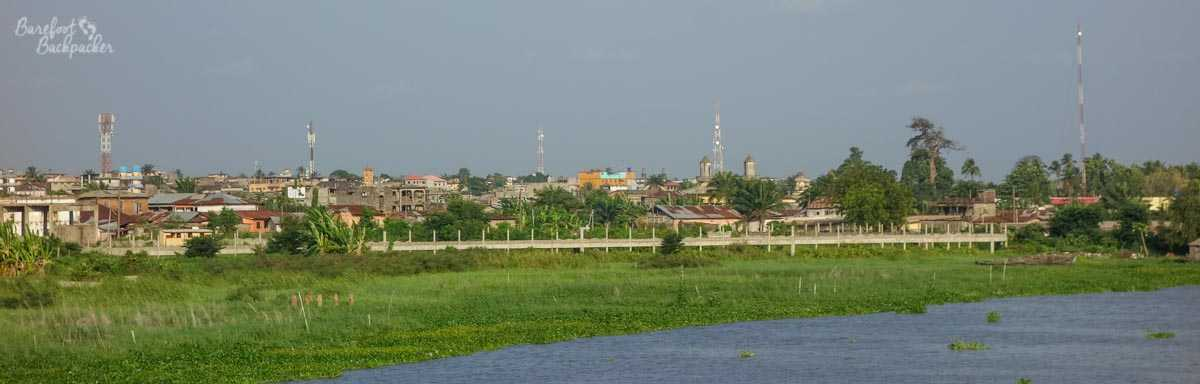 The city of Porto-Novo as seen from the viaduct on the way in.