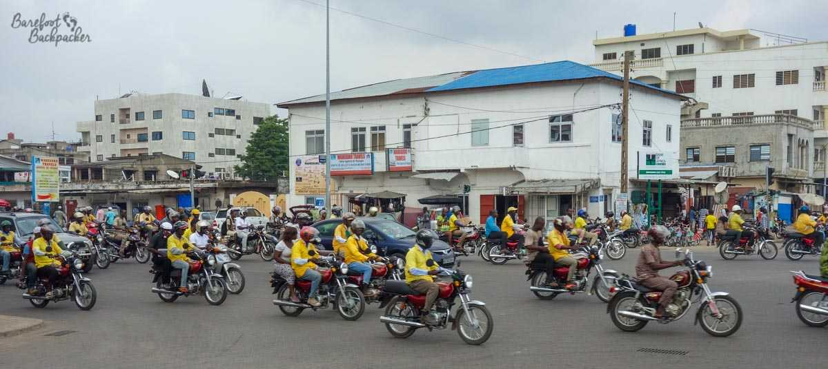 Zem – the moto-scooters in Cotonou, Benin.